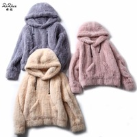 Winter Genuine Mink Fur Coats Natural Knitted Mink Fur Pullover Casual Jacket For Women With Fur Hood Pockets 180425 1