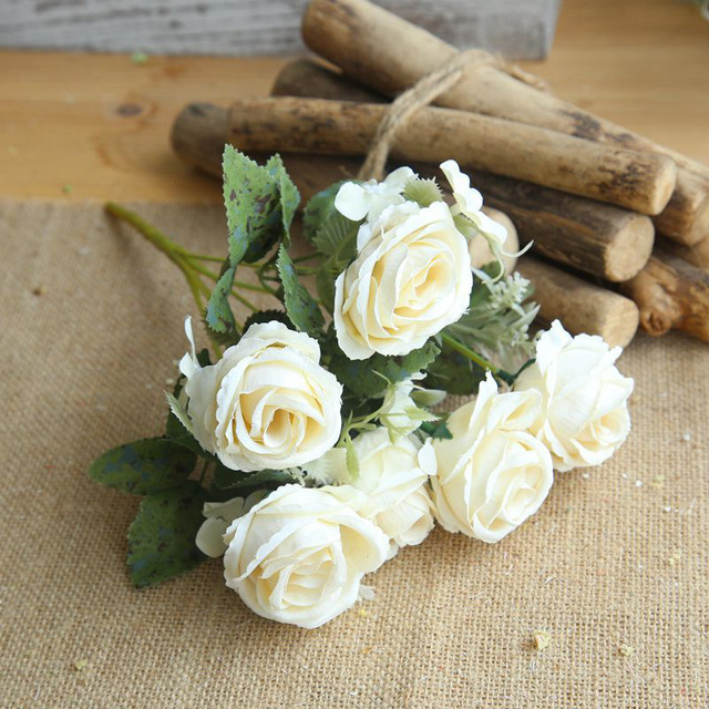 Artificial white roses 6 Heads/Bouquet Small silk Roses bouquets ...