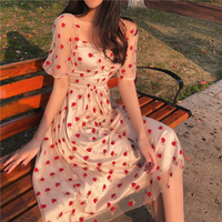 Hot Very fairy summer new embroidered strawberry mesh dress female temperament high waist sweet long New Arrival Fashion Dress