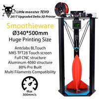 3D Printer TEVO Delta Printing Area D340xH500mm OpenBuilds Extrusion Smoothieware MKS TFT28 Bltouch High Speed 3D