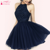 Sexy Dark Navy Homecoming Dress Halter Homecoming  Cocktail Prom dress vestido de festa curto burgundy homecoming dress Z271