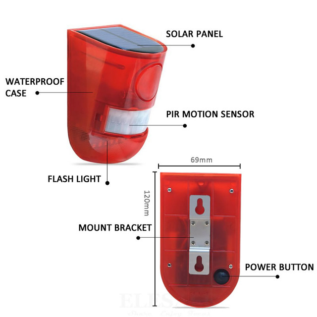 Solar Powered Infrared Motion Sensor Detector Siren Strobe Alarm System Waterproof 110dB Loud For Home Yard Outdoor Security 3
