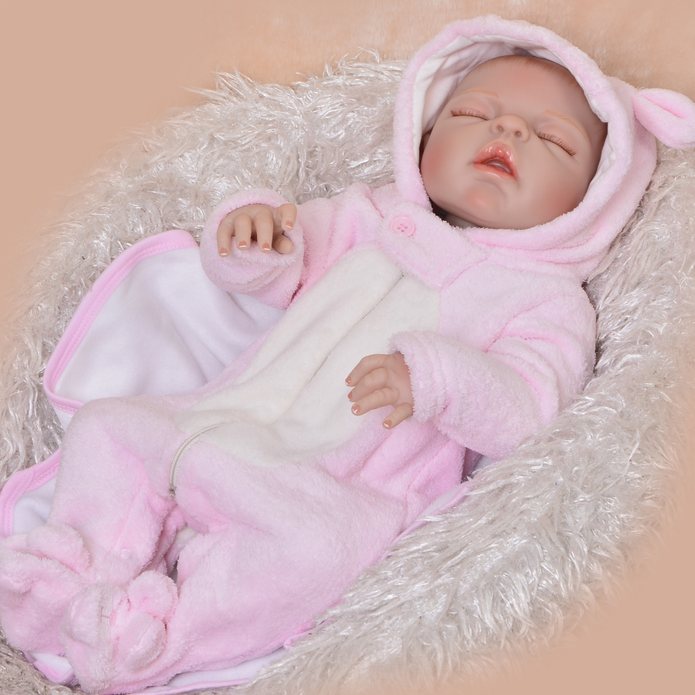 new style 23 inch 57 cm bebe reborn girl close eyes open mouth full silicone reborn doll. Black Bedroom Furniture Sets. Home Design Ideas