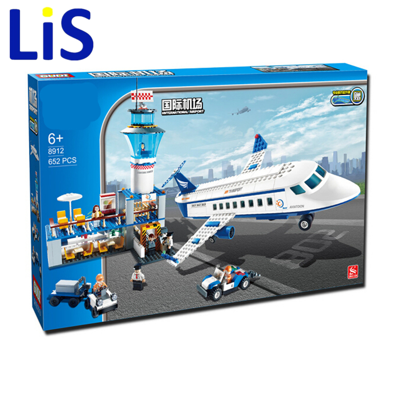 Lis Bevle GUDI 8912 City Air Plane international airport Building Block 652Pcs Bricks Toys Compatible gudi city international airport