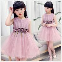 Kids Baby Girls Clothes Summer Princess Lace Sleeveless O-neck 2018 New Casual Style Green Pink Children Cool Solid Dress 32