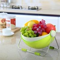 Fruit Wash Bowl 360 Rotatable Lid Fruit Holder Centerpiece Vegetable Washing Basket Storage & Draining Basket