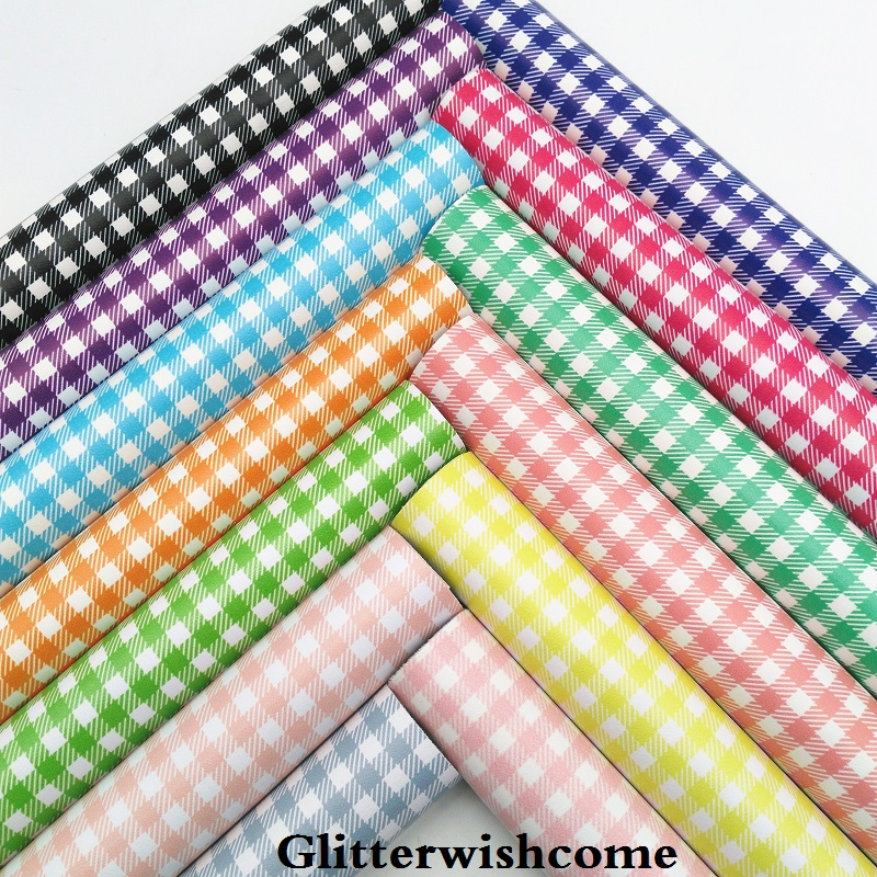 Glitterwishcome 21X29CM A4 Size Vinyl For Bows Printed Plaids Grids Leather Fabirc Faux Leather Sheets For Bows, GM090A