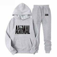 All-new brand autumn/winter hooded sweatshirt + suspenders mens wear solid color printed hoodie set 2019