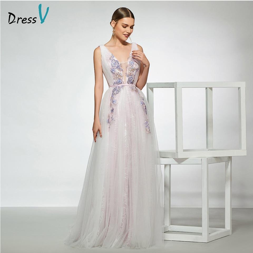 A Line Simple Wedding Dresses: Dressv Elegant Sample V Neck Appliques Wedding Dress