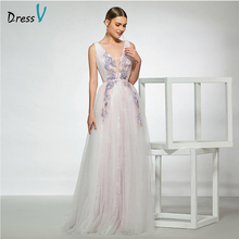 Dressv elegant sample v neck appliques wedding dress sleeveless a line lace floor length simple bridal gowns