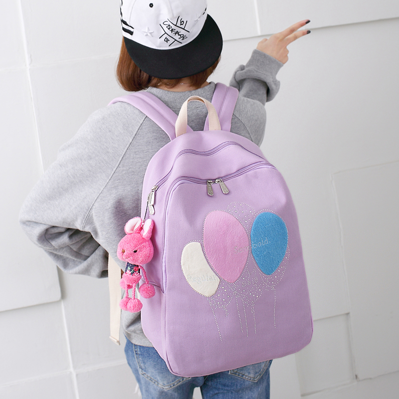 Canvas shoulder bag men and women Korean version of the campus cute backpack 4 - 5 - 6 grade student bag large capacity oxford bag korean version of the female students shoulder bag large capacity backpack canvas backpacks