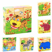 6 Sides Colorful Wisdom Jigsaw Puzzle Child Wooden Cartoon Pictures Puzzle Toys Early Education Toys Parent