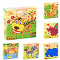 6 Sides Colorful Wisdom Jigsaw Puzzle Child Wooden Cartoon Pictures Puzzle Toys Early Education Toys Parent-Child Game MPT003