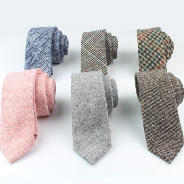 High Quality Wool Cotton Tie Skinny Ties Narrow Solid Color Corbata Slim Striped Necktie Cravat Clothing Accessories