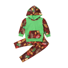 2Pcs Toddler Baby Kids Girls Hooded Tops Long Sleeve Sweatshirt Leaves Print Pants Trousers Outfits Set Clothes 2019