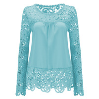 2016 Shirts Women Blouses Lace Renda Floral Casual O Neck Plus Size Tops Blusas Femininas Women
