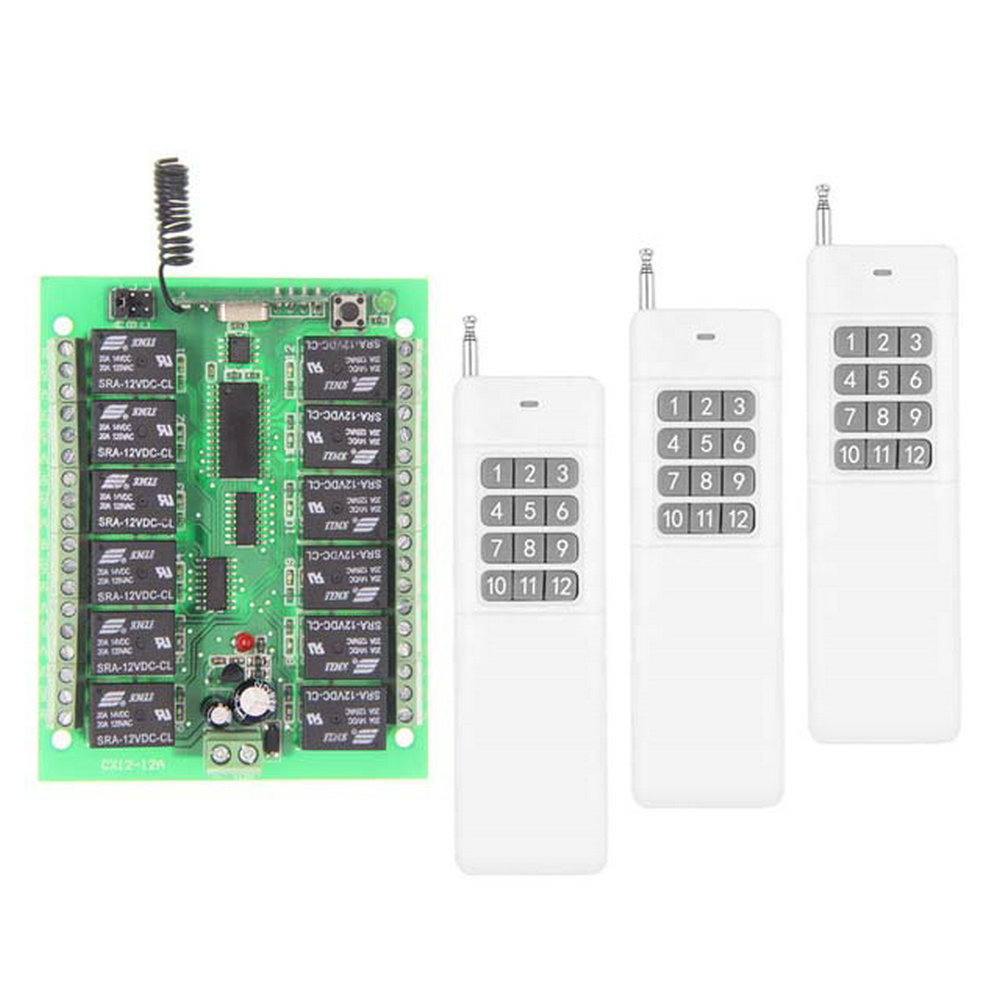 3000M Long Distance DC 12V 24V 12 CH Channels 12CH RF Wireless Remote Control Switch System,315/433 MHz, Transmitter + Receiver 12ch 3000m long distance high power dc 9v 12v 24v 1 ch 1ch rf wireless remote control switch system transmitter receiver