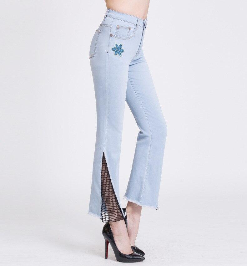 KSTUN hight waist jeans woman bell bottom emboridered denim pants push up net designer women slim fit gloria+jeans plus size 36 16