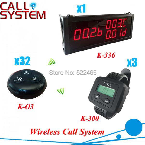 Chamada sem fio Sistema de Pager para restaurante café, um conjunto incluindo 1 tela + 3 relógios + 32 botões, frete grátis