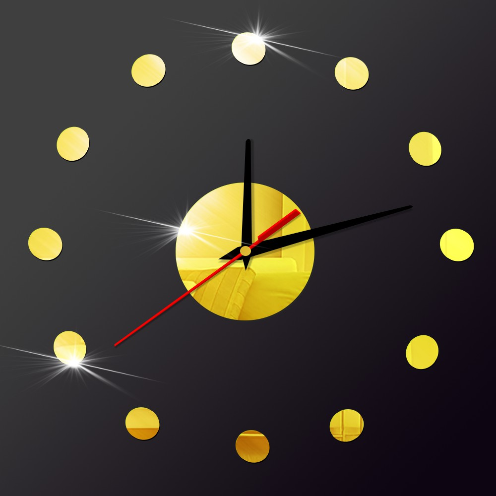 Small Dots 3D DIY Wall Clock Modern Design Home Decor Self adhesive ...