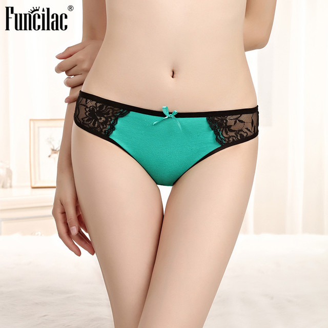 FUNCILAC Women Underwear Thong String Lace Transparent G String Sexy For Women Seamless Underpant Low Waist Solid Bikini 1 Piece