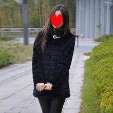 Зимняя женская одежда размера плюс, пальто из искусственного меха, полосатая Женская Шубы из искусственного кроличьего меха средней длины, черная/белая меховая куртка