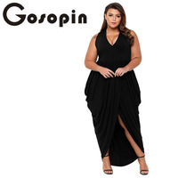 Gosopin Plus Size Long Dresses Casual Summer 2018 Sexy V Neck Maxi Dress Women Solid Tank