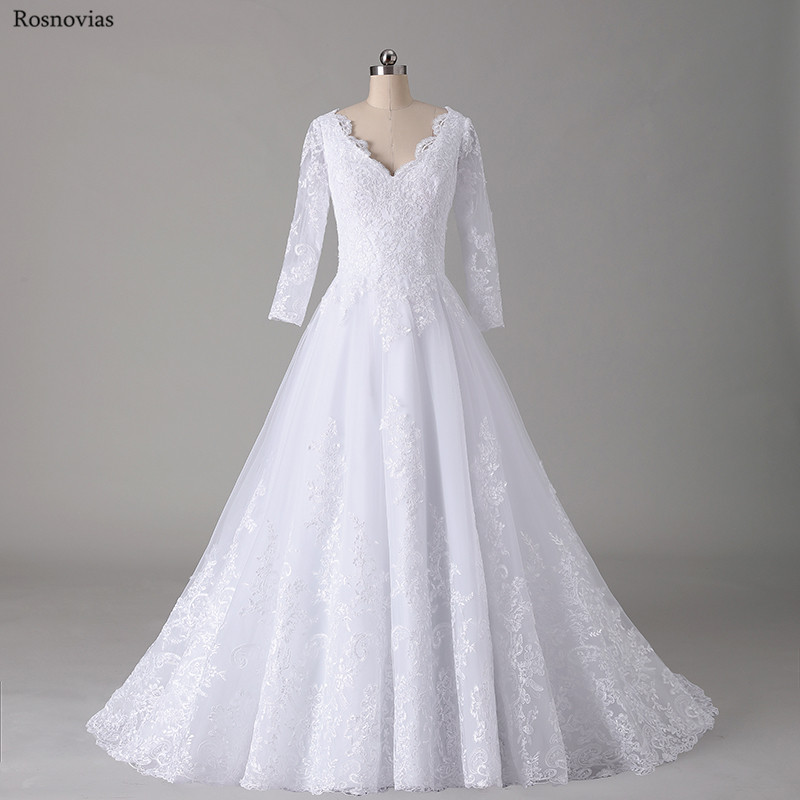 Real Photos Luxury Long Sleeves Wedding Dresses 2019 V Neck Backless Sweep Train Lace Appliques Modest A Line Bridal Gowns cheap