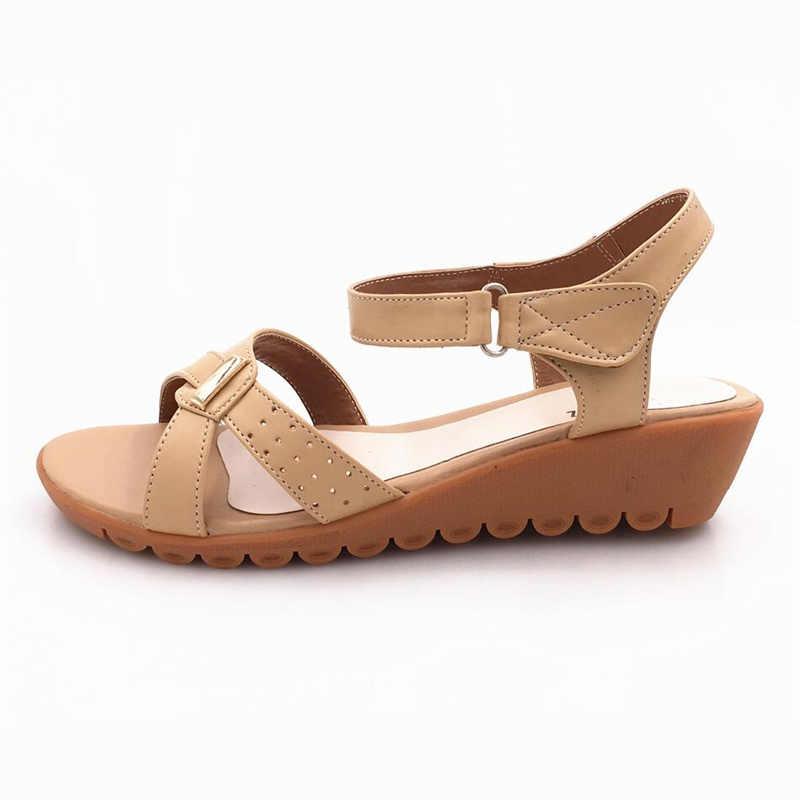 Donna sandali estate 2017 genuino zeppe in pelle sandali mamma romani morbido breathbale confortevole open toe sandali femminili 35-43