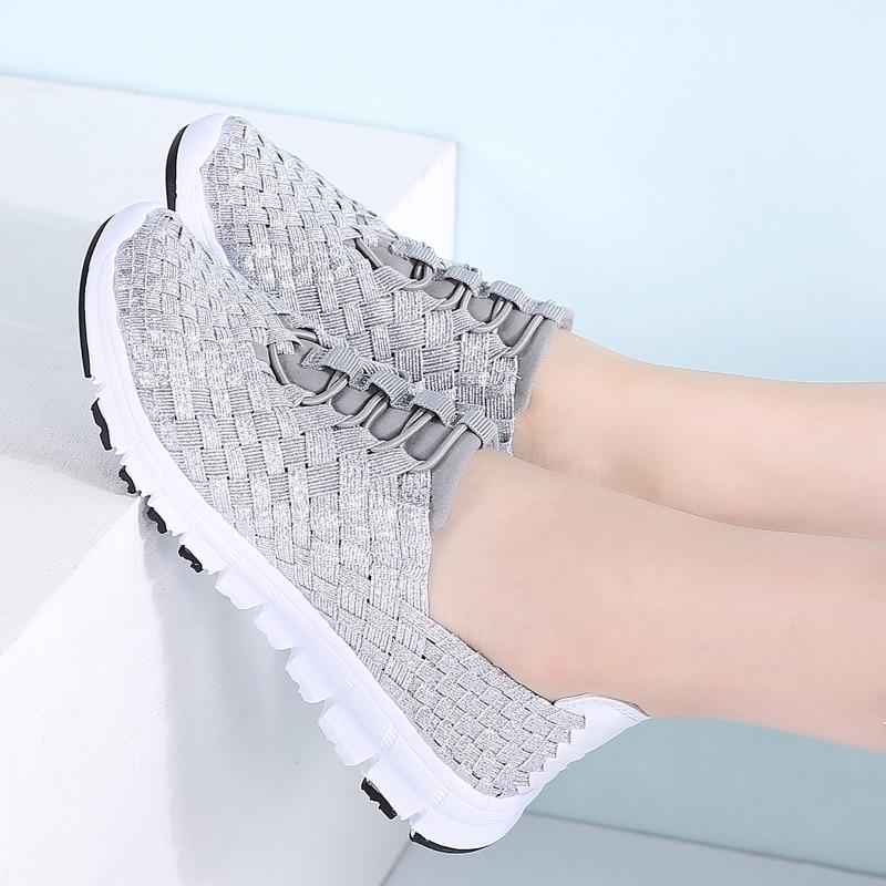 Image 5 - STQ 2020 Autumn Women Casual Sneakers Shoes Women Flats Woven Shoes Ladies Loafers Shoes Flat Weave Lace Up Walking Shoes 1655women flats shoesflats shoesloafers shoes -