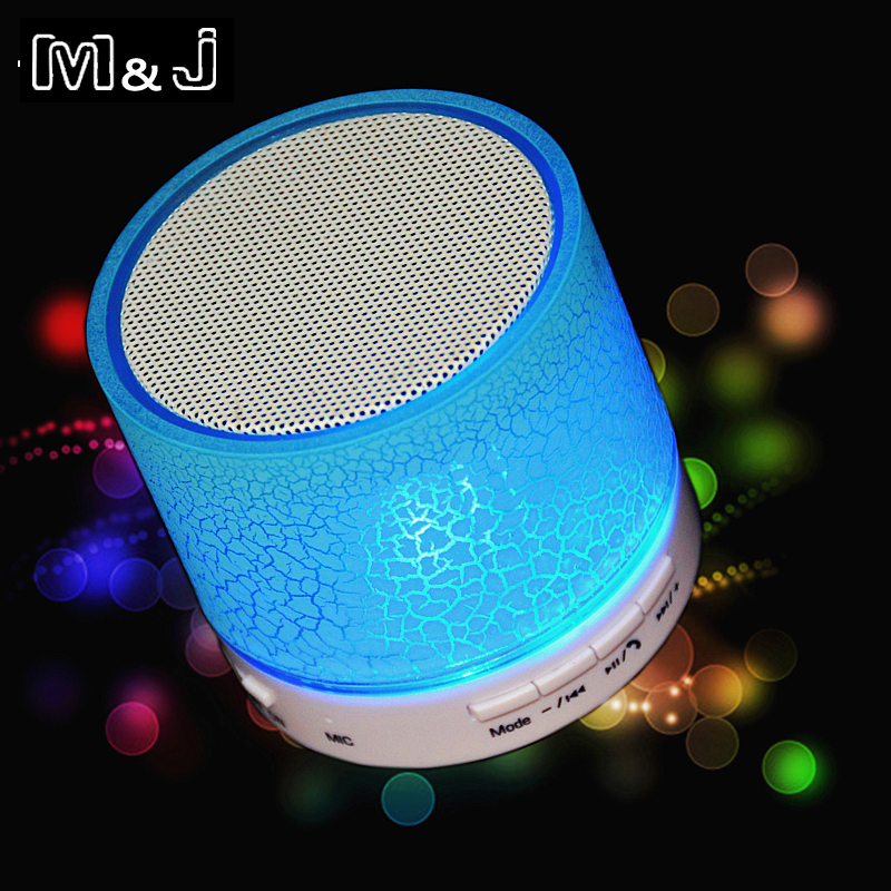 Hot Sell M&J New LED MINI Wireless Bluetooth Speaker TF USB Portable Music Sound Box Subwoofer Loudspeaker For phone PC with Mic khf301 mini golf ball shape bluetooth v3 0 music speaker deep pink white