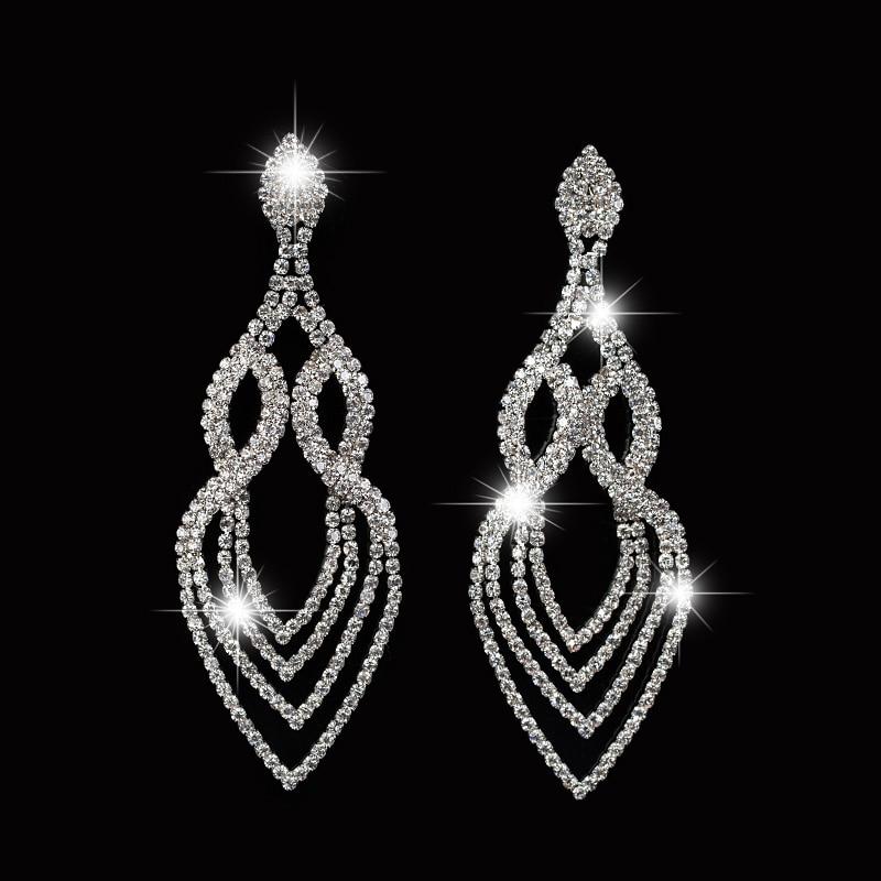 Charm Flower Pending Hanging Earrings Spiral Crystal Long Dangle Chandelier Earings For Women Wedding Jewelry In Drop From Accessories On