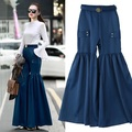 Europe and the United States Trend spring 2017 new fashion belt fold wide leg pants female FASHION WIDE LEG PANTS