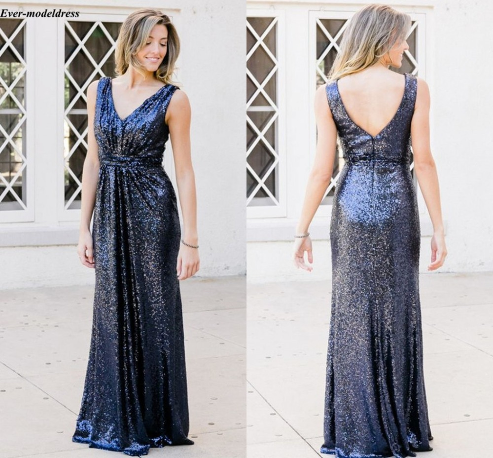 Long Sequin   Bridesmaid     Dresses   V Neck Sleeveless Floor Length Elegant Formal Wedding Guest Party Gowns Maid Of Honor Customized