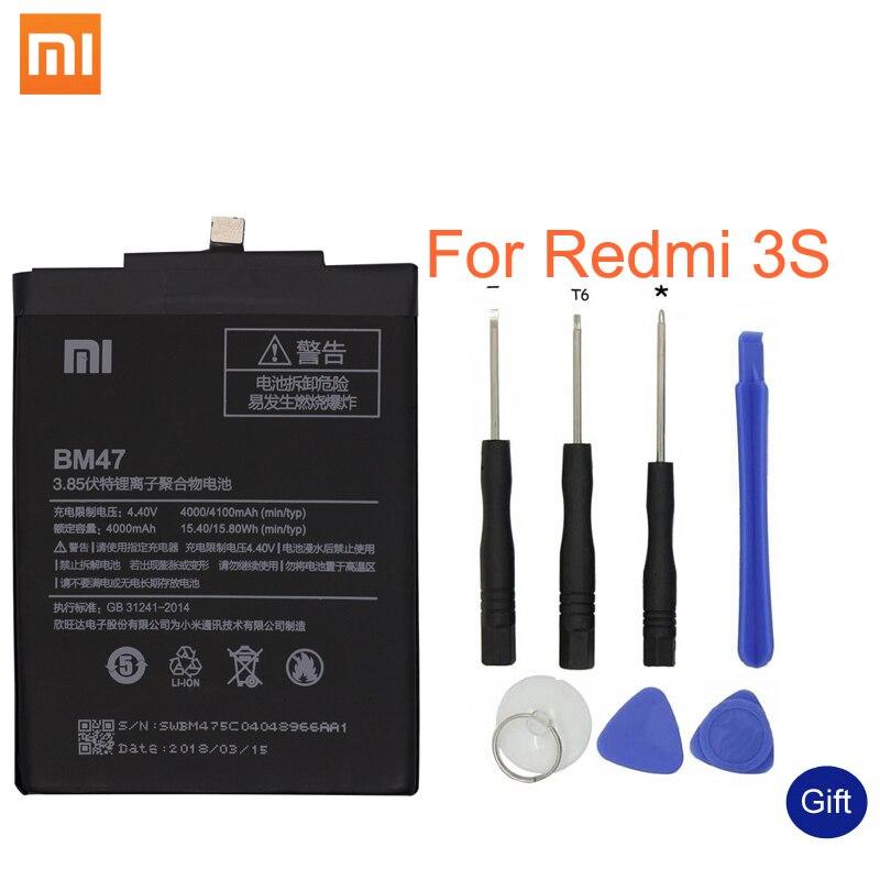 Xiao mi Original teléfono batería BM47 de alta calidad, capacidad de 4000 mAh batería de repuesto para la batería rojo mi 3 3 S 3 4X4X3 pro Hong mi S 3 S 4 X