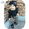 Nuevo 2016 bebé ropa de algodón recién nacido bebé ropa de moda de manga larga camiseta + pantalones de leopardo infantil 2 unids/set niños traje