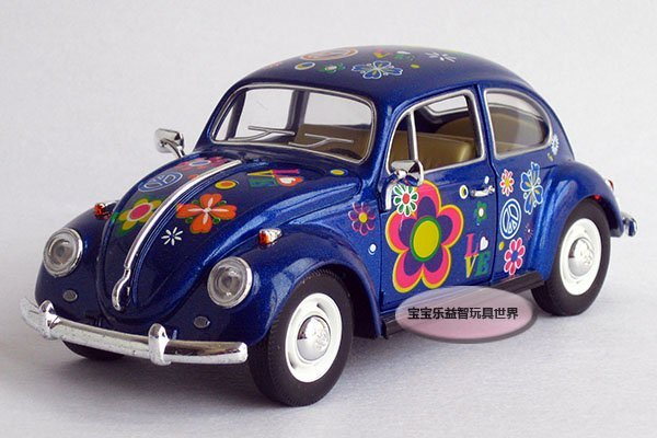 Free shipping--1:24 beetle / classical painting Edition / acousto-optic edition alloy model car /  puzzle toy Christmas gift