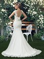 Bridess Lady's Cap Sleeves Backless Chiffon Wedding Dress Court Train Floor Length Trumpet Wedding Gowns w6166