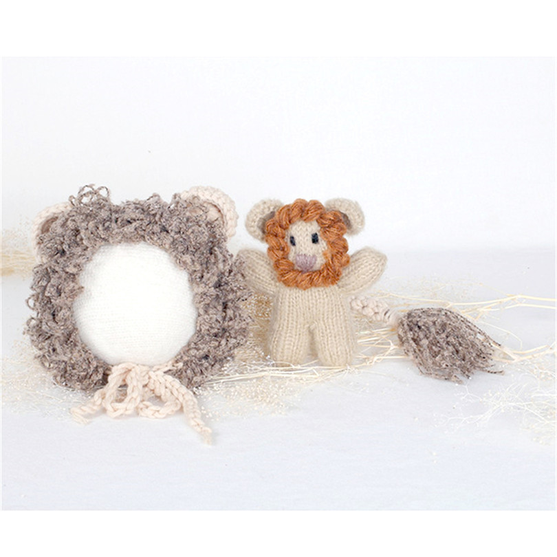 f0917d82e6a Hand knit Newborn Lion Hat Match Toy Stuffed Animal Toy Set Knit Lion Bonnet  Crochet Doll Animal Bonnet Photography Props
