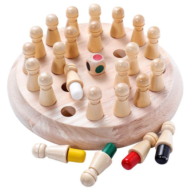 Montessori para crianças de madeira cor jogo de memória vara xadrez brinquedo para crianças 3d puzzle educacional presente família casual jogo