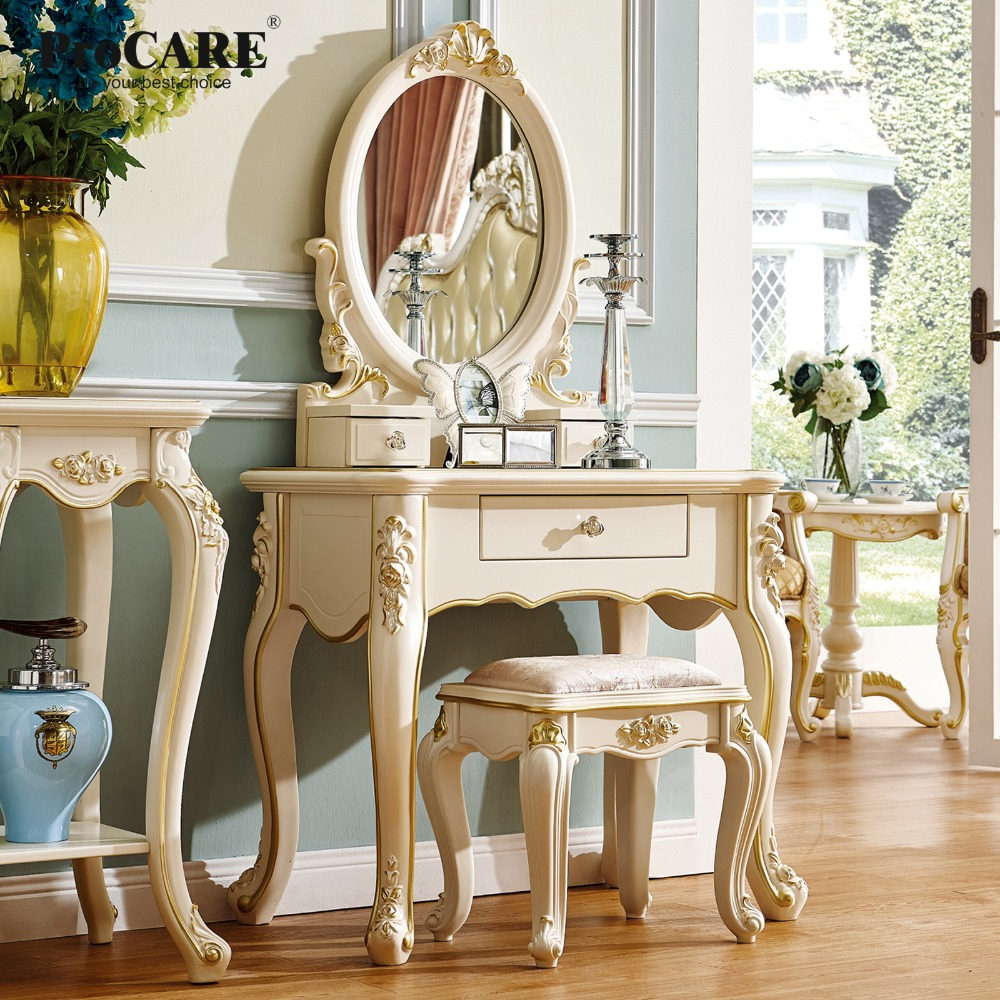 Dressing table cover with mirror makeup table. Makeup bedside table shelf