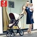 Carrinho de bebê pode se sentar e deitar a alta paisagem carrinho de bebê dobrável quatro rodas suspensão invertendo a implementação