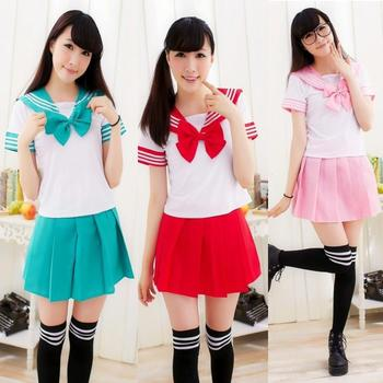 Japanese School Uniforms Anime Cosplay Sailor Suit Tops tie skirt Jk Navy Style Students Clothes For Girl Short Sleeve 7 Colors japanese school uniforms anime cos sailor suit tops bow tie skirt jk navy style students clothes for girl short sleeve