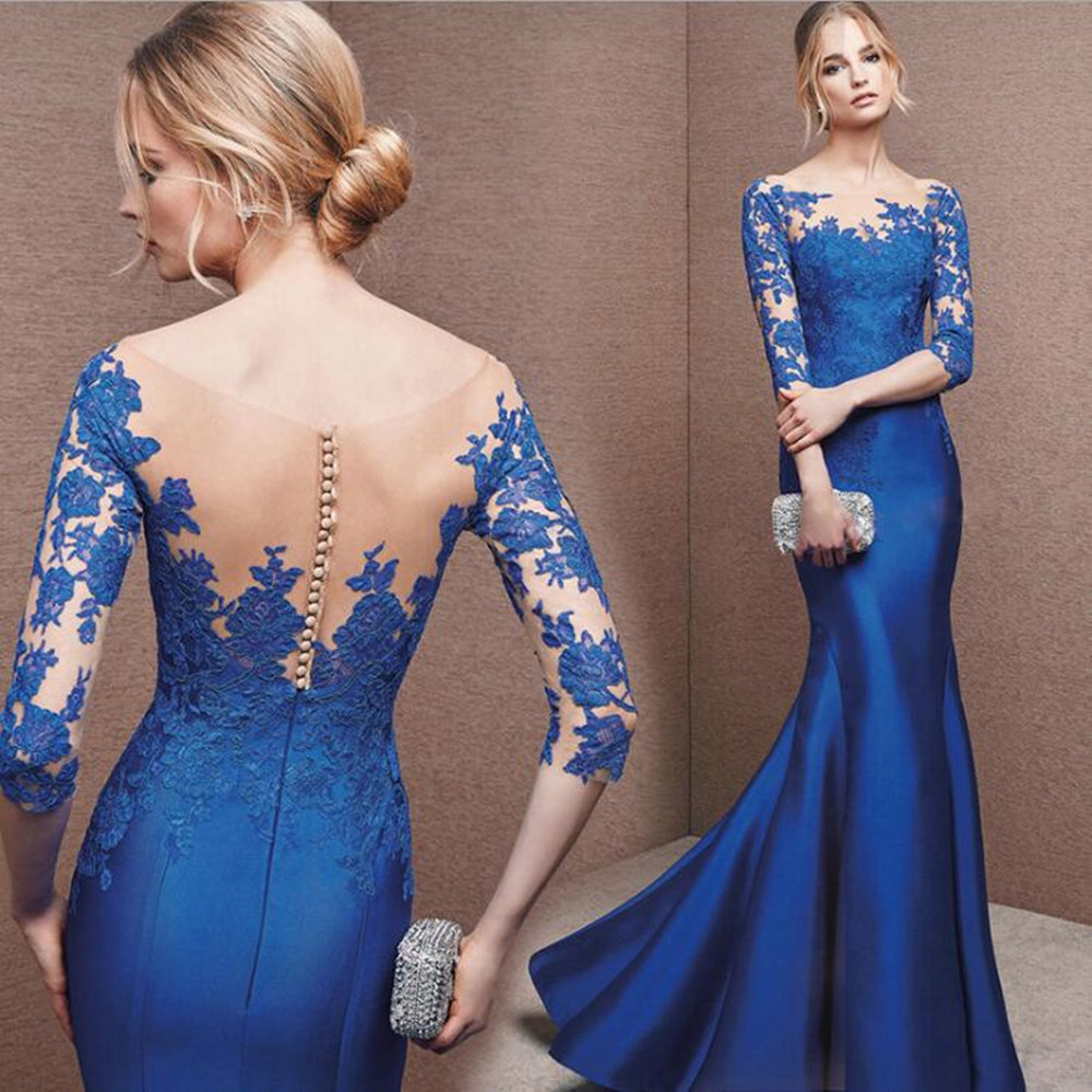 Royal Blue Satin Mermaid Evening Dresses 2019 Sheer Neck Lace Court Train See Through Elegant Party Formal Gowns