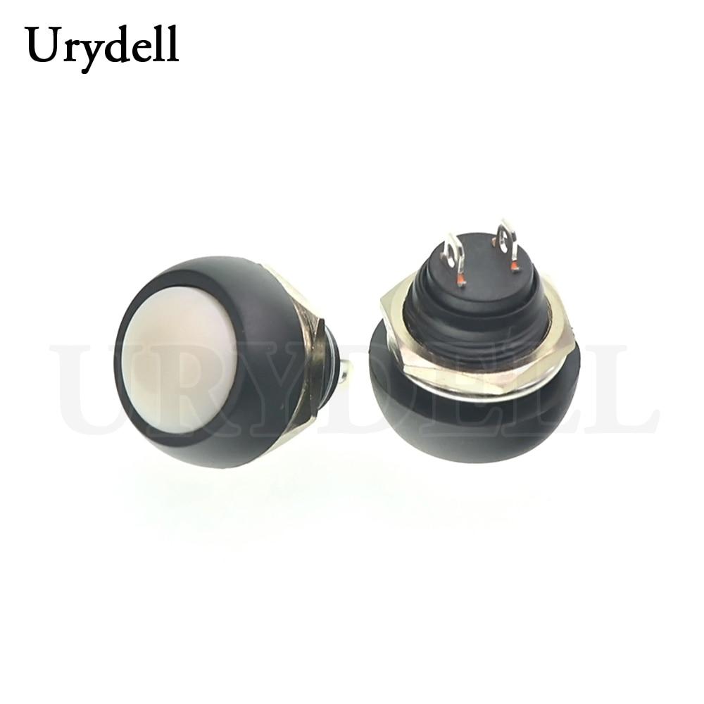 1 шт. красный/зеленый/белый/черный/синий/желтый/оранжевый ВКЛ-ВЫКЛ 12 мм водонепроницаемый Мгновенный кнопочный переключатель SPDT - Цвет: White