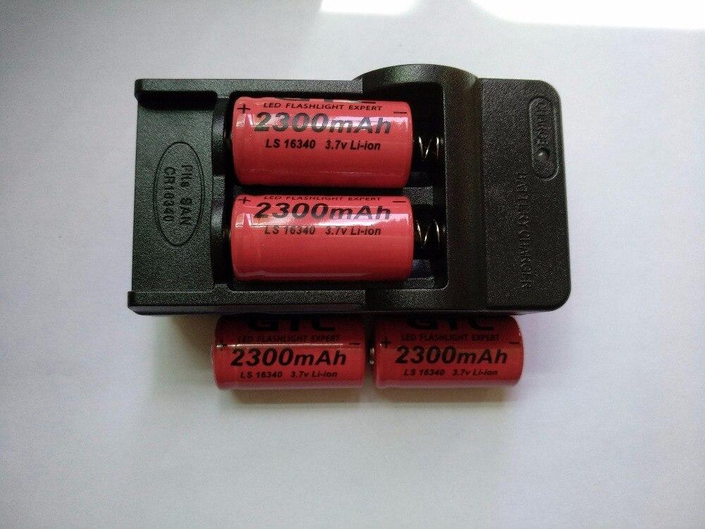 4x16340 CR123A 2300 mah Batteria Ricaricabile Li-Ion 3.7 v 16340 cr123 Batterie + 1 pz x Viaggio In Tutto Il Mondo parete Bateria Caricatore