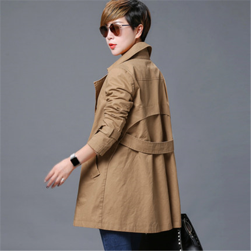 Female Windbreaker 2018 Spring Fashion Double breasted Loose Women Coat Slim Elegant Plus size Long Sleeves   Trench   Coat A75