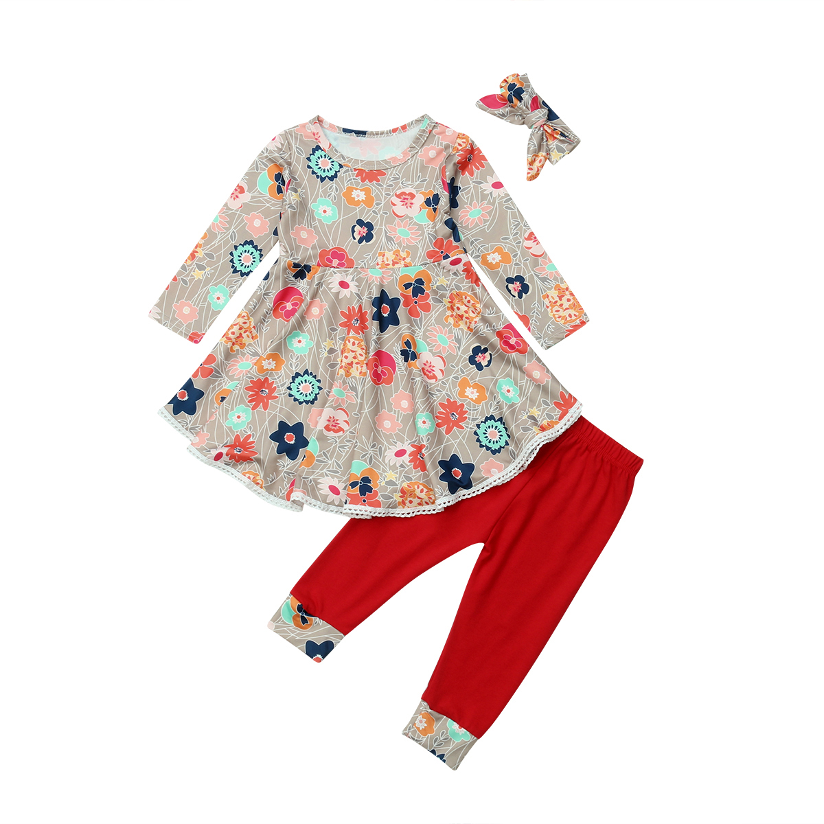 Christmas Toddler Kids Baby Girl Flower Tops Long Sleeve Dress Long Pants Headband Outfits Clothes Set 2019 in Clothing Sets from Mother Kids