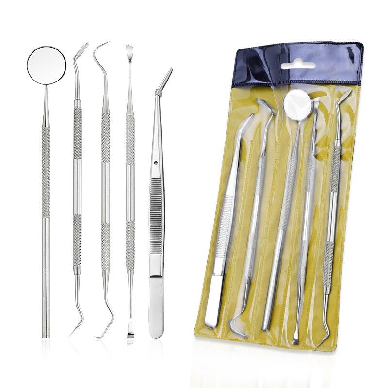 1/5PCS Stainless Steel Dental Tools Kit Teeth Tartar Scraper Mouth Mirror Dentists Pick Tool Teeth Scaler For Teeth Whitening