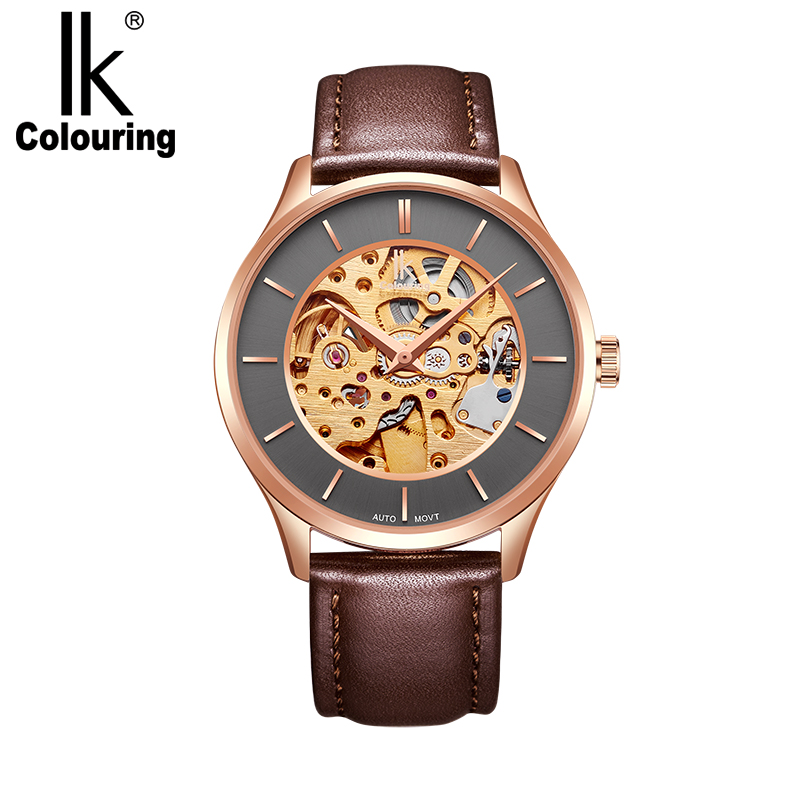 2018 Retro Original Box New IK Coloring Men's See Through Auto Mechanical Watches Wristwatch Gift Free Ship new 2017 jaragar mens auto mechanical leather watches mechanical watch wristwatch gift gift box free ship